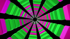 Tunnel of cubes in purple and green colors on black. In backgrounds stock video footage