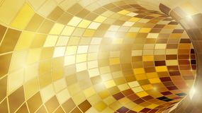 Tunnel d'or brillant lumineux de mosaïque de poligonal pour des vacances de fête Photo libre de droits