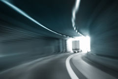 Tunnel dangerous high speed truck motion blur Stock Images