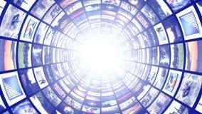 Tunnel de moniteurs, fond abstrait d'infographies de technologie Photo libre de droits