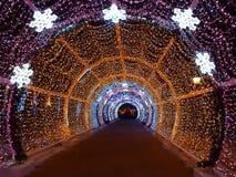 Tunnel decorato con la luce festiva di illuminazione dei colori differenti Fotografia Stock