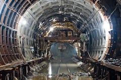 Tunnel del sottopassaggio nel progresso della costruzione Fotografie Stock