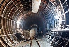 Tunnel del sottopassaggio nel progresso della costruzione Fotografia Stock