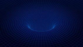 tunnel del wireframe 3d Priorità bassa futuristica Tecnologia cyber Illustrazione di vettore Immagine Stock Libera da Diritti
