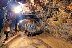 Tunnel della miniera della ferrovia Immagini Stock Libere da Diritti