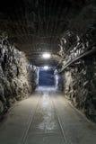 Tunnel della miniera in sotterraneo Fotografia Stock