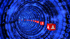 Tunnel di Cybersecurity in blu Immagine Stock