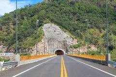 Tunnel die de brug kruisen Stock Foto