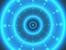 Tunnel digitale astratto con i cerchi luminosi Priorità bassa futuristica moderna Concetto d'ardore 3D Contesto cyber per il web illustrazione vettoriale