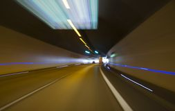 Tunnel driving. Fast driving through a tunnel
