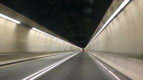 Tunnel driving. Driving fast thru tunnel in the night stock video