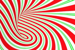 Tunnel en spirale rouge de Noël et vert de fête Illusion optique tordue rayée de Noël Fond hypnotique l'illustration 3d rendent illustration libre de droits