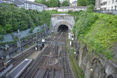 Tunnel en spoorweg Royalty-vrije Stock Foto's