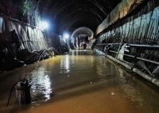 Tunnel Engineering water inrush accident site Royalty Free Stock Images