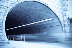 Tunnel entrance. With traces of vehicles to move Royalty Free Stock Images