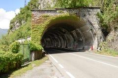 Tunnel entrance on lake side road of Como lake, Italy Stock Image