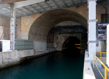 Tunnel entrance submarines in the underground complex `Balaclava` Stock Photo