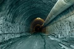 Tunnel excavation work stock photography