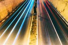 Tunnel exit car lights Royalty Free Stock Photography