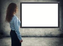 tunnel för teknologi för digital om flicka för begrepp bärbar dator för information lysande Royaltyfria Bilder