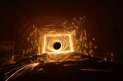 Tunnel of fire Stock Photo
