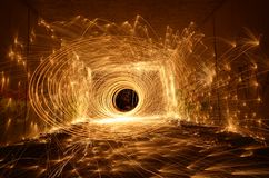 Tunnel of fire Stock Images