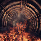 Tunnel in flames Royalty Free Stock Images
