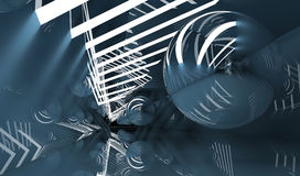 Tunnel with  flying mirror ball, 3d render Stock Images