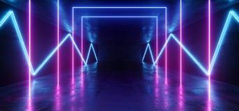 Tunnel foncé rougeoyant de rose de fond au néon vibrant de réalité virtuelle futuriste bleue pourpre de Violet Path Track Gate En illustration stock