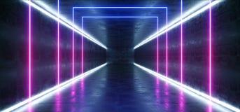 Tunnel fonc? rougeoyant de rose de fond au n?on vibrant de r?alit? virtuelle futuriste bleue pourpre de Violet Path Track Gate En illustration libre de droits