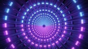 Tunnel a forma di rotondo con le luci al neon, rappresentazione 3d illustrazione di stock