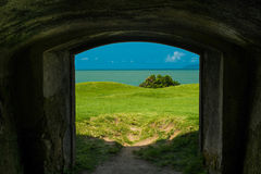 Tunnel at the Fortress of Santa Cruz. With a view to the sea Stock Photos