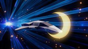 Tunnel futuristico con i raggi luminosi al neon blu e un'astronave che fa un salto animazione Salto nel tempo e nello spazio di u illustrazione di stock