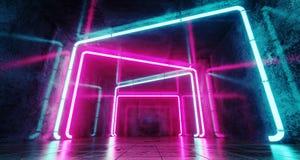 Tunnel futuristico del club di fantascienza moderna con i tubi al neon Glowi del mazzo illustrazione di stock