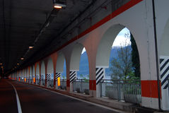 Tunnel, Garda Lake, Italy. Automobile tunnel with gallery without cars, Garda Lake, Italy stock image