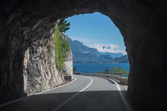 Tunnel at gardesana road, lakeside west. Royalty Free Stock Photos