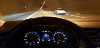 Tunnel on german Autobahn. Relaxing drive on german autobahn stock photos