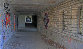 Tunnel with graffiti. Royalty Free Stock Images