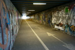 Tunnel with graffiti Royalty Free Stock Image