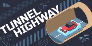 Tunnel highway illustration, isometric composition 3d vector illustration stock illustration