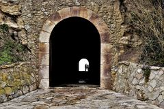 Tunnel. Historic tunnel in the rocks Royalty Free Stock Images