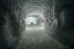 Tunnel in Ice Cave in the Langjokull glacier in Iceland Stock Images