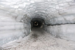 Tunnel in Ice Cave in the Langjokull glacier in Iceland Royalty Free Stock Image