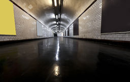 Tunnel illuminated with neon Stock Photography
