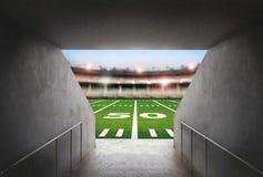 Tunnel im Stadion des amerikanischen Fußballs stockbild