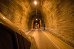 Tunnel from inside the car Stock Image