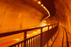 Tunnel Interior and Motion Blur Royalty Free Stock Images