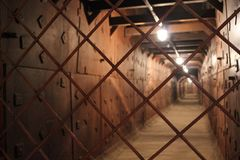 A tunnel of iron panels stock photography