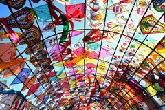 Tunnel kite. More kite making in the background Royalty Free Stock Photos