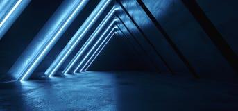 Tunnel-Korridor-Hallen-Verein-Untertagegaragen-Galerie zukünftiges Neonlicht-Dreieck Sci FI Retro- glühende purpurrote blaue virt stock abbildung